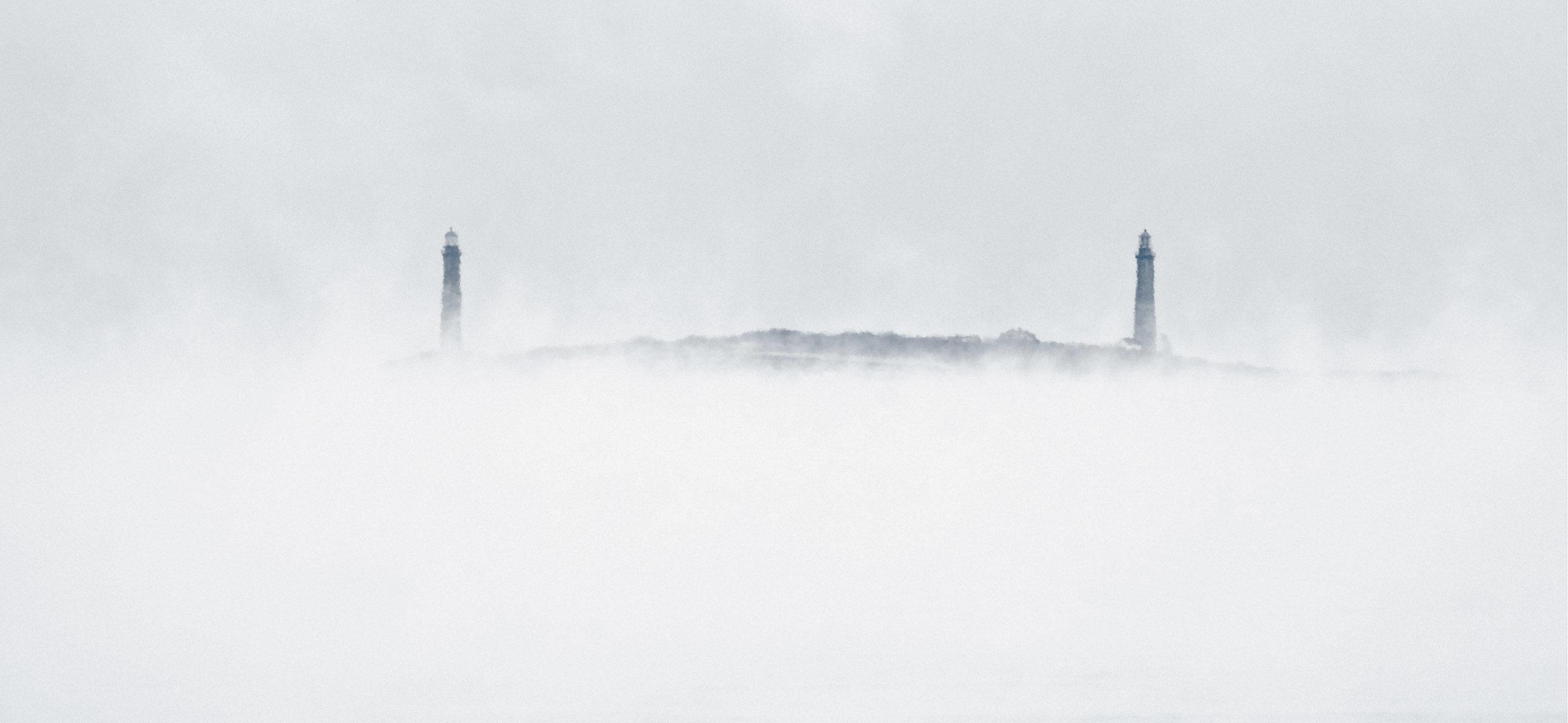 Twin Lights Sea Smoke - Copyright Kim Smith